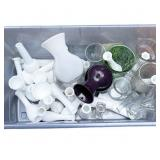Milk Glass Vases w/Clear Glass Vases in Tub