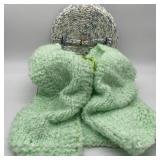 Crochet Vest in Cloth Basket w/Lid