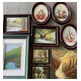 Miniature Oil Paintings w/2 Prints