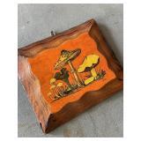 Vintage Wood Mushroom Plaque