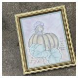Signed Pumpkin & Girl Framed Art