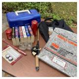 Garage Lot, Rod, Reel, Tackle Box, Books