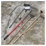 Garden Rakes, Hoe, Broom