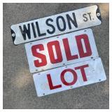 Vintage Wilson St Metal Sign, Lot, & Sold Signs