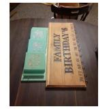 Plastic Mail Holder and Wood Birthday Sign