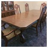Vintage Dining Table w/ 6 Chairs