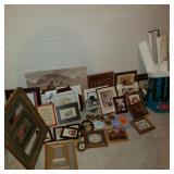 Large Lot of Picture Frames & Vintage Art