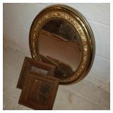 Round Mirror Lot w/ 2 Small Square Mirrors