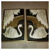 Vintage 2 Piece Swan Art