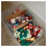 Clear Tote of Ornaments & Ribbons