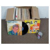Boite de vinyles 33 tours/LP dont Jean Simon