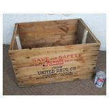 Caisse en bois vintage, United Drug Co.