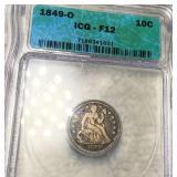 1849-O Seated Liberty Dime ICG - F12