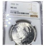1923 Silver Peace Dollar NGC - MS64