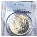 1922 Silver Peace Dollar PCGS - MS63
