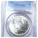 1922 Silver Peace Dollar PCGS - MS62