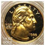 1999-W $5 Gold 1/4oz Gold Coin GEM PROOF
