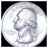 1941-D Washington Silver Quarter NEARLY UNC