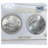 1900 Morgan Dollar/2000 Silver Eagle UNCIRCULATED