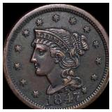 1847 Braided Hair Large Cent CLOSELY UNC