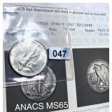 1946-S Walking Half Dollar ANACS - MS65