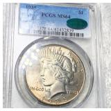 1935 Silver Peace Dollar PCGS - MS 64 CAC