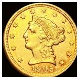 1905 $2.50 Gold Quarter Eagle UNCIRCULATED