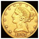 1897-S $5 Gold Half Eagle CLOSELY UNC