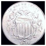 1874 Shield Nickel ABOUT UNCIRCULATED