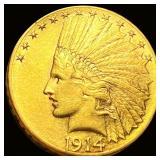1914-D $10 Gold Eagle CLOSELY UNC
