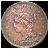 1843 Braided Hair Large Cent LIGHTLY CIRC