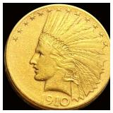 1910-S $10 Gold Eagle LIGHTLY CIRCULATED