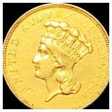 1854-O Rare $3 Gold Piece CLOSELY UNC