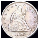 1875 Seated Twenty Piece NEARLY UNCIRCULATED