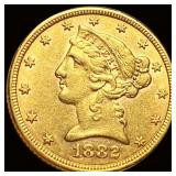 1882 $5 Gold Half Eagle CLOSELY UNC