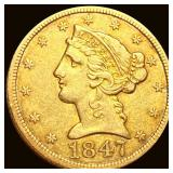 1847 $5 Gold Half Eagle CLOSELY UNC