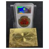 RARE 24K Gold Plated Michael Jordan Coin Encased