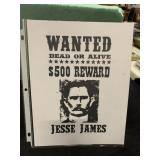 Jessie James Wanted Poster Sign