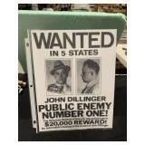 John Dillinger Wanted Poster Sign