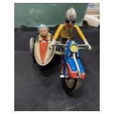 Vintage Metal Wind-Up Toy Motorcycle & Sidecar