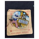 Vintage Hang Hitler Uncle Sam WWII Button MOC