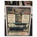 "1954 Mercury Car Advertisement 15"" x 12""-Auto Lit"