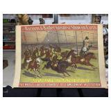 Vintage Circus Monkeys on Ponies Poster-1960