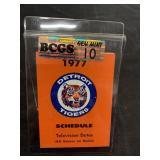 1977 Detroit Tigers Schedule Graded Gem Mint 10