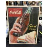 Vintage Coca-Cola Drink and Sandwich Litho Poster