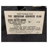 1955 Gene Autry Annie Oakley Show Unused Ticket