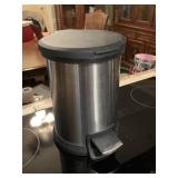 Small stainless steel waste can