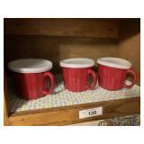 Three mugs with snap on lids