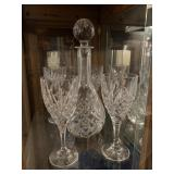 Glass decanted & 4 long stem glasses