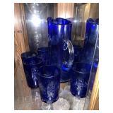 Bohemian cobalt blue etched pitcher & 6 glasses